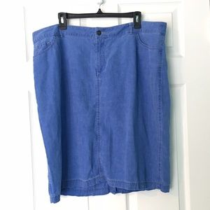 Coldwater Creek Skirts - Coldwater Creek Chambray Skirt Blue Linen Plus sz