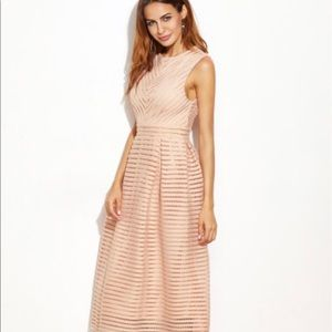 Pink Hollow Out flare Sleeveless Dress--Brand New!