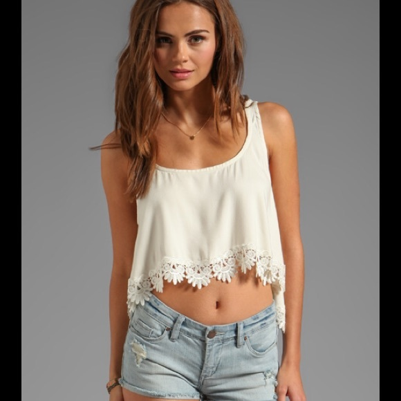72922fd423d9ba For Love   Lemons Loyal Crop Tank Top Lace Trim