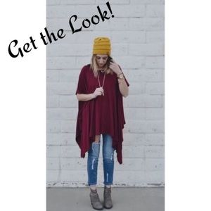 Lane Bryant Tops - Burgundy Poncho Blouse Tunic Gold sparkly Stripes