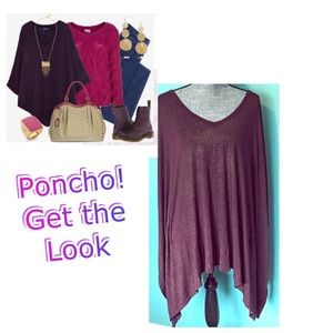 Burgundy Poncho Blouse Tunic Gold sparkly Stripes