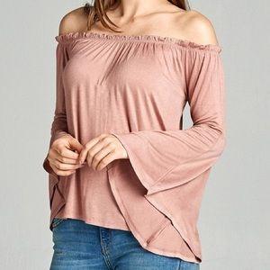 Ash pink bell sleeve off shoulder long sleeve top