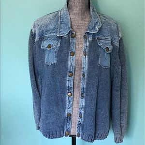 Vintage Jackets & Blazers - Vintage Denim Sweater Jacket XL PBJ BLUES