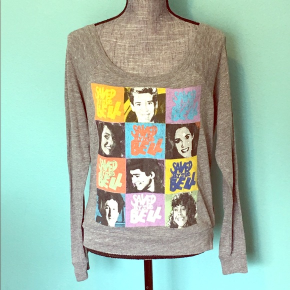 Recycled Karma Tops - Saved by the Bell Vintage look Tshirt Gray Small
