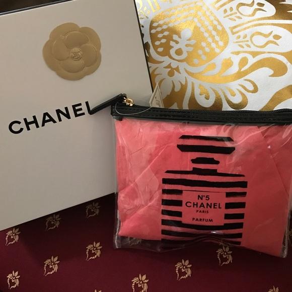 Pink chanel makeup bag