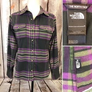The North Face Plaid Flannel Snap Button Up Shirt