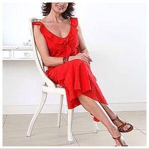 Ralph Lauren Cherry Red Ruched Sleeveless Dress
