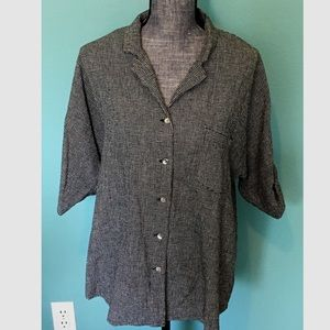 Chico's Tops - Chico's Checked Top Button up Linen blend Shirt 1
