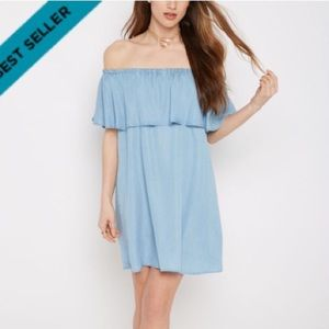 Rue21 Dresses & Skirts - Ruffled chambray off the shoulder dress