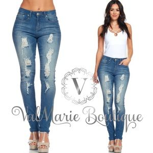Distressed Low Rise Skinny Stretchy Jeans