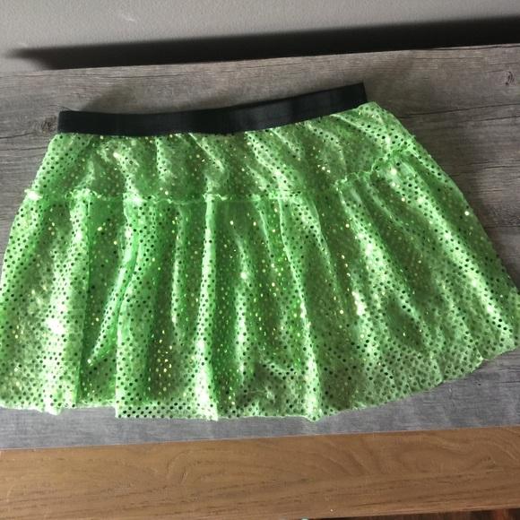 Lime Green Sparkle Running Skirt
