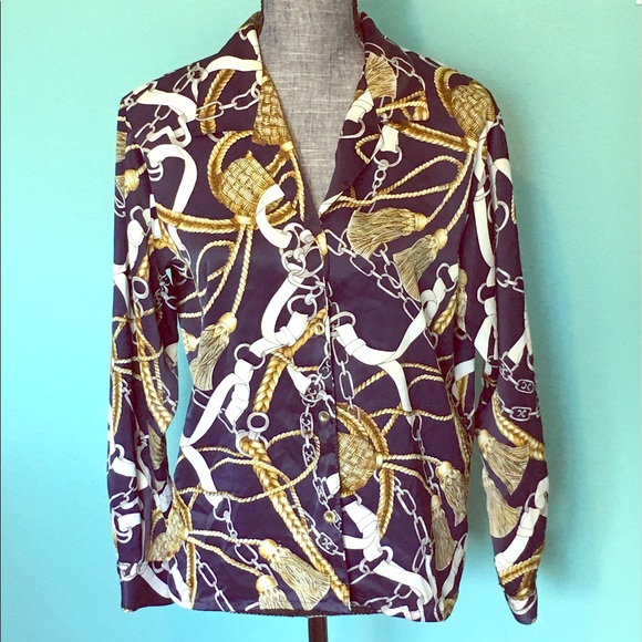Vintage Tops - Vintage Versace style Shirt Top 6 Blue Gold Brown