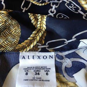 Vintage Tops - Vintage Versace style Shirt Top 6 Blue Gold Brown