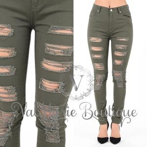 ValMarie Boutique LLC  Pants - Olive Color Destroyed Distressed Skinny Pants