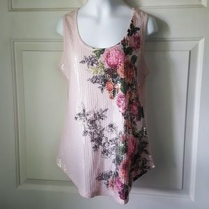 Route 66 Romantic Rose Sequin Tank XS Pink Summer