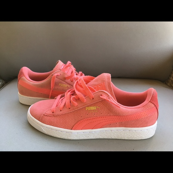 peach colored sneakers