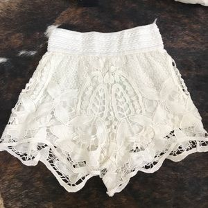 Pants - White Lace Shorts Farrm Brazil Gulpture Shorts
