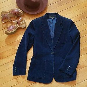 Vintage Navy Blue Corduroy Blazer Jacket