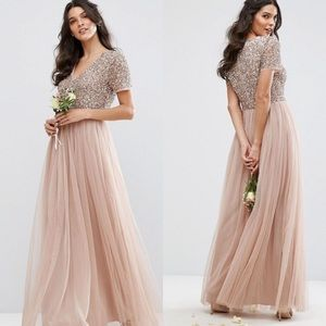 Maya Dresses & Skirts - Maya V Neck Maxi Tulle Dress with Sequins