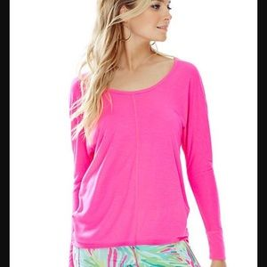 Lilly pulitzer luxletic hot pink long sleeve top