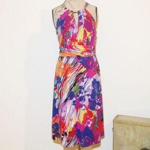 Suzi Chin Dresses & Skirts - Suzi Chin Watercolor Keyhole Sleeveless Dress