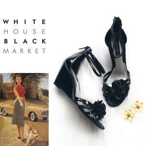 WHBM Wedges • Black Patent Leather Wedges • Pinup