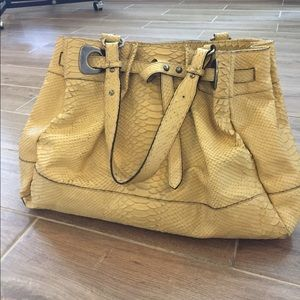 MaxMara Handbags - MaxMara Yellow Leather Python Shoulder Bag