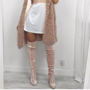Nasty Gal Shoes - Crushed velvet blush OTK boots