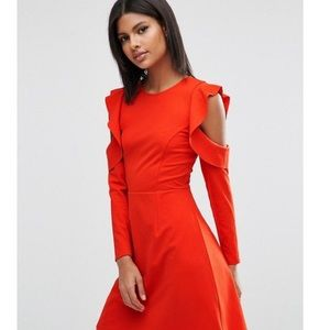 ASOS Dresses & Skirts - TALL Red Dress with Ruffles and Cold Shoulder