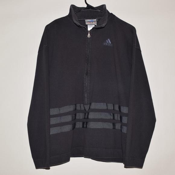 Rare 90's Vintage Adidas Striped Half Zip Pullover