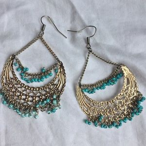 Child of Wild Jewelry - Turquoise and gold beaded earrings ✨