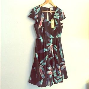 Alice Moon Dresses & Skirts - Feather Print Cocktail with Open Back, never worn!
