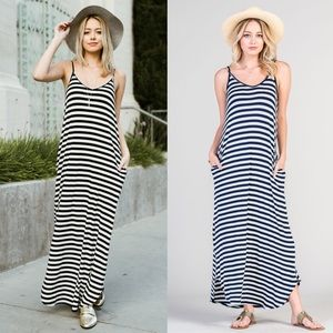 TRISHA Striped Maxi Dress - NAVY