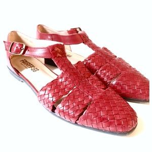 Fab Red Woven Leather Sandles, Made in Brazil, 9M