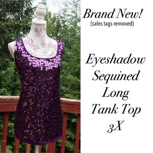 Eyeshadow Tops - Brand New Purple Sequined Tank Top 3X