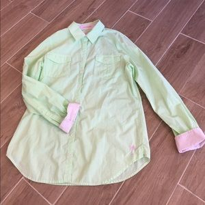 Lilly Pulitzer Tops - Lilly Pulitzer Gingham Lime Green Buttondown