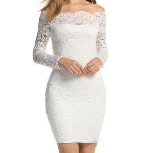 White lace off the shoulder bodycon party dress