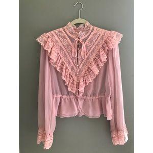 Gorgeous Pink Vintage Ruffle Blouse