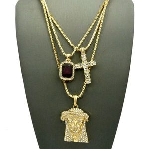 Other - Iced out Jesus & cross & Ruby necklace set