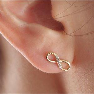 Jewelry - {3F20} 14k gold or silver infinity earrings w/ CZ
