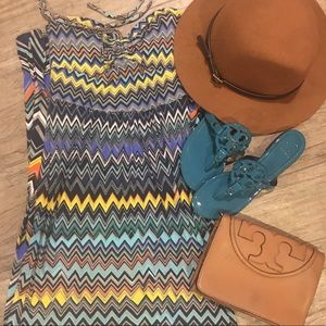 🍋 • BCBGmaxazria • chevron maxi halter dress