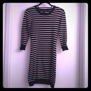 French Connection black / white striped dress