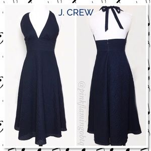 J. Crew Navy Textured Halter Sundress size 4