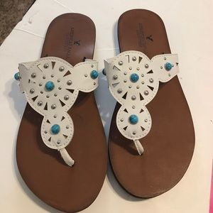 3f928642c4e919 Montana West bling Baseball Flip flops size 7 8 American Eagle White and Turquoise  Sandals 7 ...