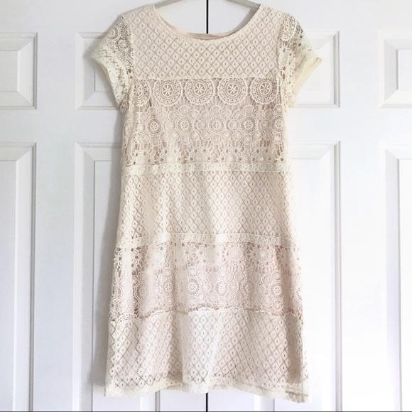 Target Xhilaration Cream Lace Short Sleeve Dress. M 59811398522b45545716ac58 61e6d1aa9
