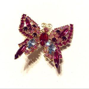 Vintage Jewelry - Butterfly Pin Brooch Rhinestones Vintage