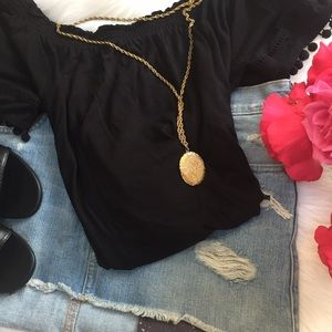 Off the Shoulder Black Cotton Shirt