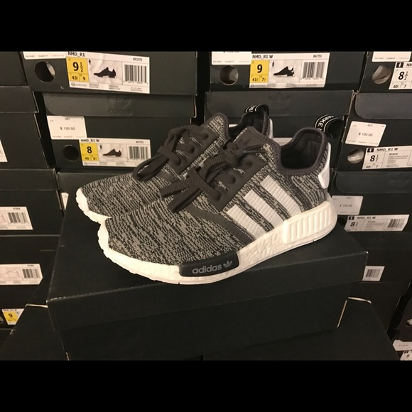 new concept 9ebee 0d278 Adidas NMD R1 Black Gray White Women BY3035 NWT