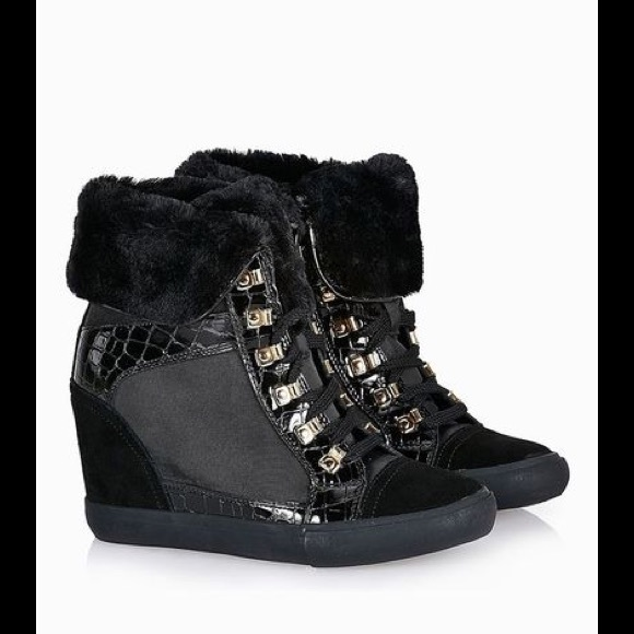 8410f00aedf1d5 Wedge Sneakers with Gold accents and Fur cuff