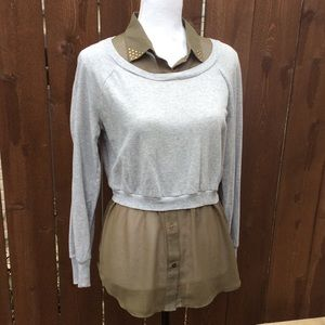 """""""FANG"""" Blouse/ Sweater combo, Olive and Grey"""